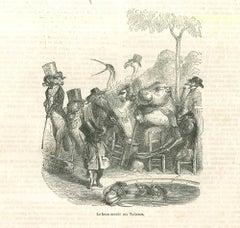 Le Beau Monde aux Tuileries - Original Lithograph by J.J Grandville - 1852