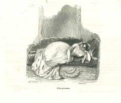 J'Etait Paresseuse - Original Lithograph by J.J Grandville - 1852