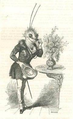 Gentleman - Original Lithograph by J.J Grandville - 1852