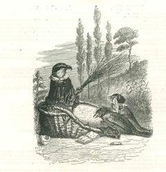 The Gathering - Original Lithograph by J.J Grandville - 1852