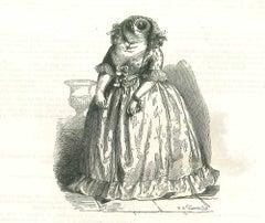 Lady Owl - Original Lithograph by J.J Grandville - 1852