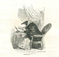 The Diseuse - Original Lithograph by J.J Grandville - 1852