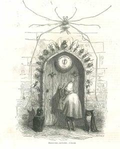Bonsoir donc, Ami Lecteur - Original Lithograph by J.J Grandville - 1852