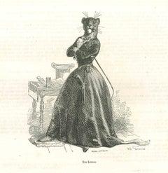 Une Lionneis - Original Lithograph by J.J Grandville - 1852
