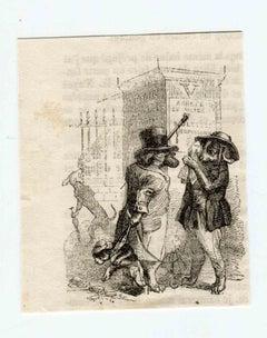 The Meeting - Original Lithograph by J.J Grandville - 1852
