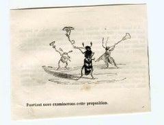 The Propositions - Original Lithograph by J.J Grandville - 1852