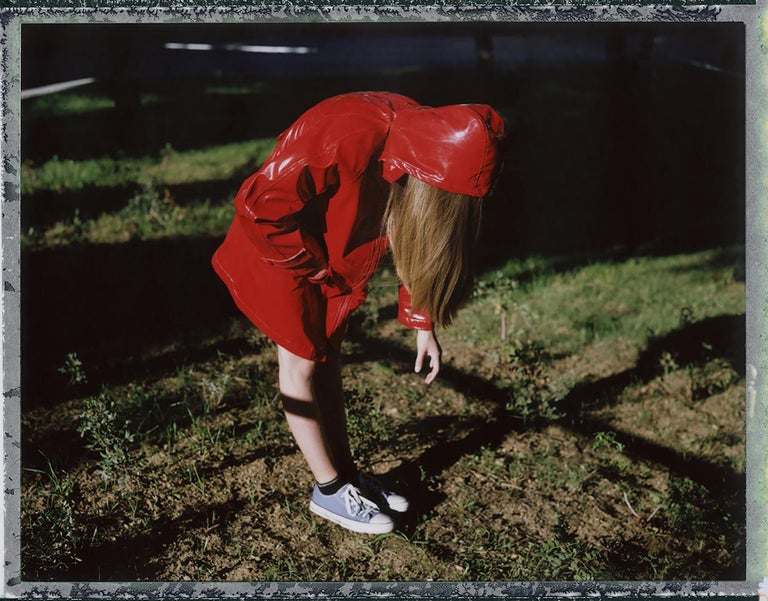 Cristina Fontsare Color Photograph - The hood is falling short  - Contemporary, Polaroid, Photograph, Childhood