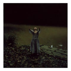 By the Pond (40x40cm) - Contemporary, Polaroid, Photograph, Figurative, Woman