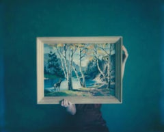 Into the Woods - Contemporary, Woman, Polaroid, Painting, Interior, Landscape
