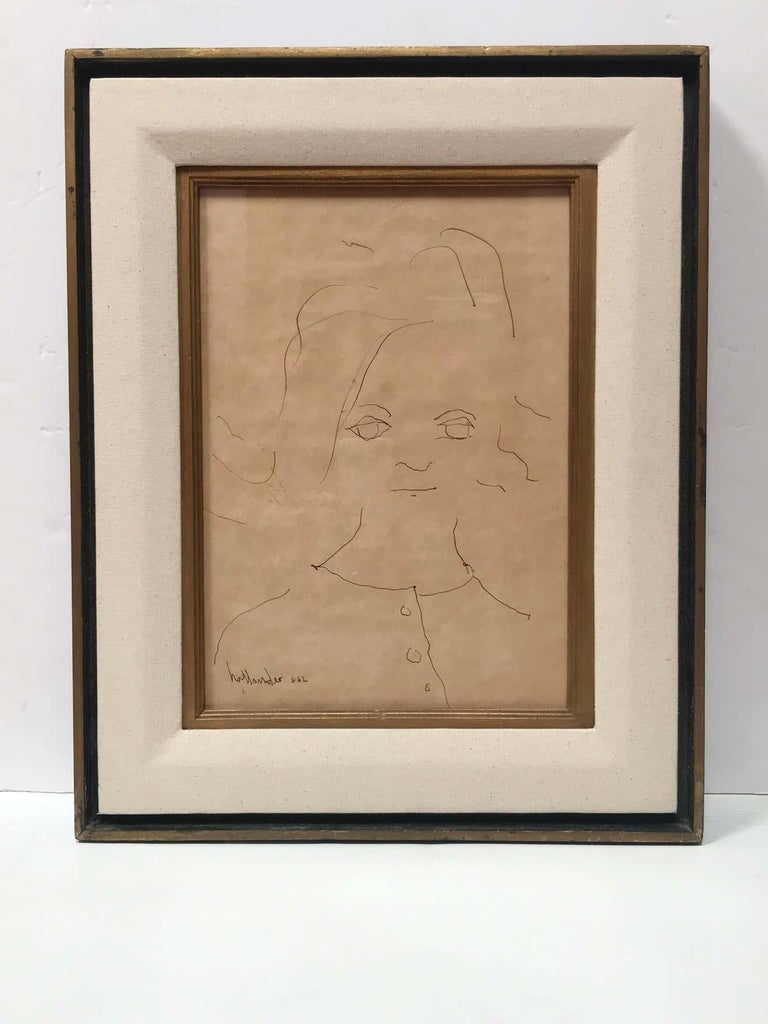 Portrait of a Little Girl Signed Gino Hollander - Minimalist Art by Gino Hollander