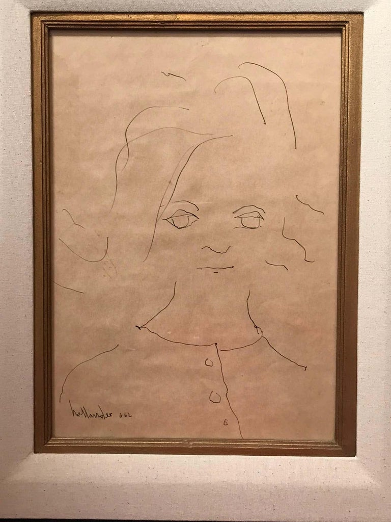 Minimalist drawing of a little girl. Signed and dated 1962. The drawing paper is like Hollander took any piece of paper to draw the portrait and give it to her parents who put it in this beautiful frame.