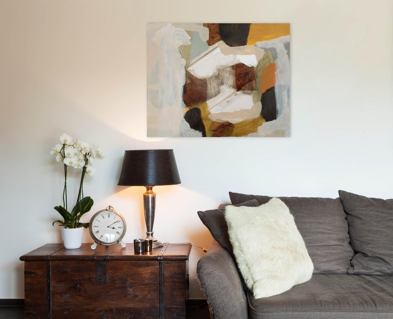 Erased Painting - Brown Abstract Painting by Michael Cusack
