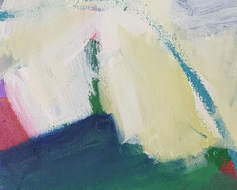 Green hope (Abstract painting) - Gray Abstract Painting by Diana Krinninger