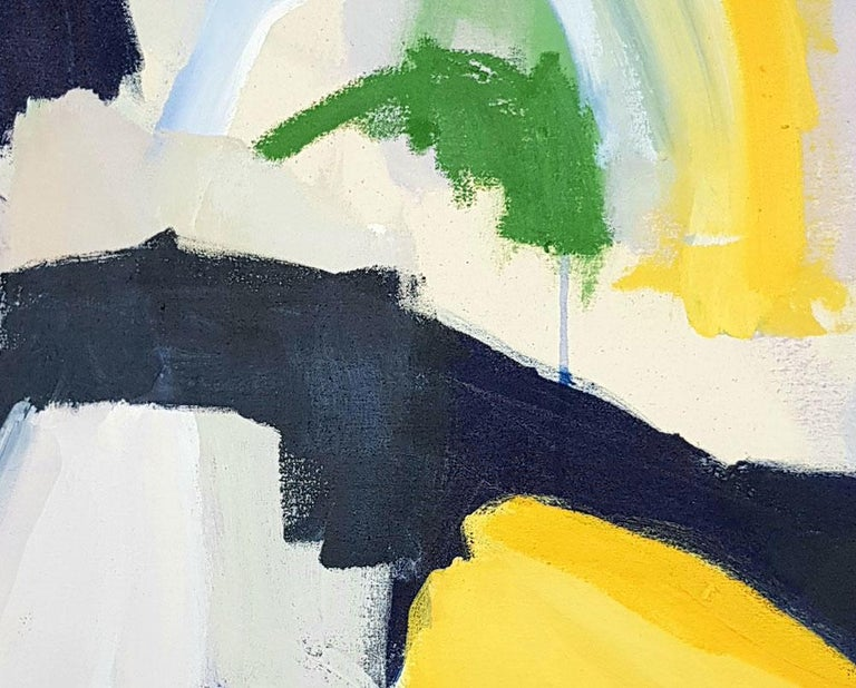 Sunny night (Abstract painting) - Beige Abstract Painting by Diana Krinninger
