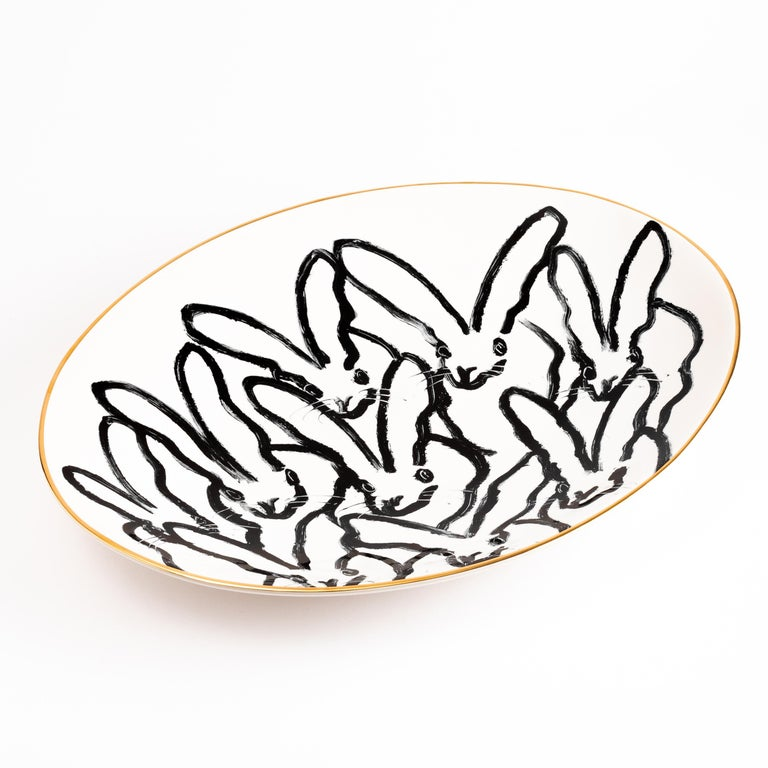 Rabbit Run Serving Platter - Art by Hunt Slonem
