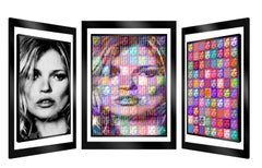 """200 % Kate"" -- kinetic, kinetic pop art, Kate Moss, pop culture, art optic,"