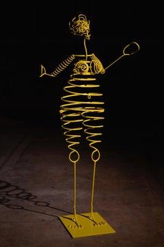 """Humanobile """"Fabiola"""" - sculpture, metal, Calder, springs, wires, outdoor, indoor"""