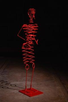 """Humanobile """"Mario"""" - sculpture, metal, Calder, springs, wires, outdoor, indoor"""