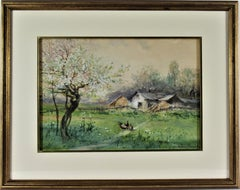 Landscape with Barn and Chickens