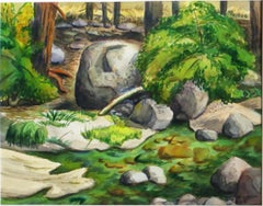 Arnold Grossman Watercolor of Wawona River, Yosemite National Park