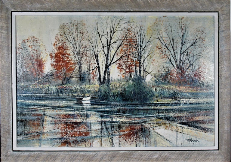 Richard Ellis Wagner Figurative Painting - Autumn River Bank