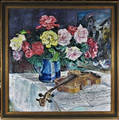 Flowers in a Vase and Violin