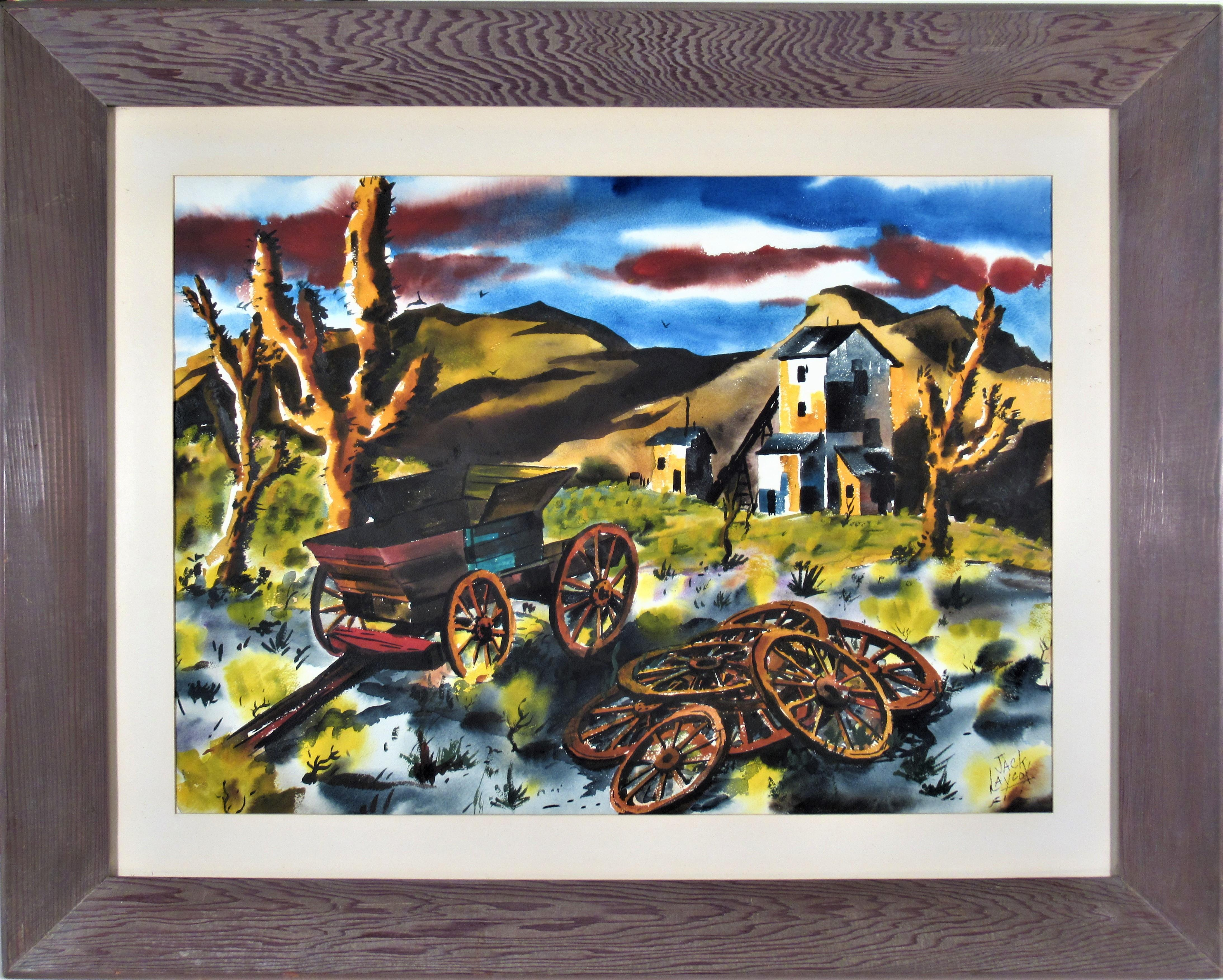 """""""The Old Carriage"""" Large watercolor"""