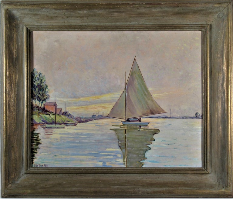 Otto Krone Landscape Painting - Sailboat on the Lake