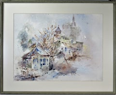 Landscape with Houses, large watercolor