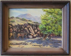 Untitled - Rustic Cowboy Painting