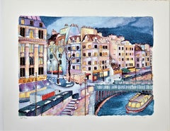 La Seine a Paris, Large original color serigraph