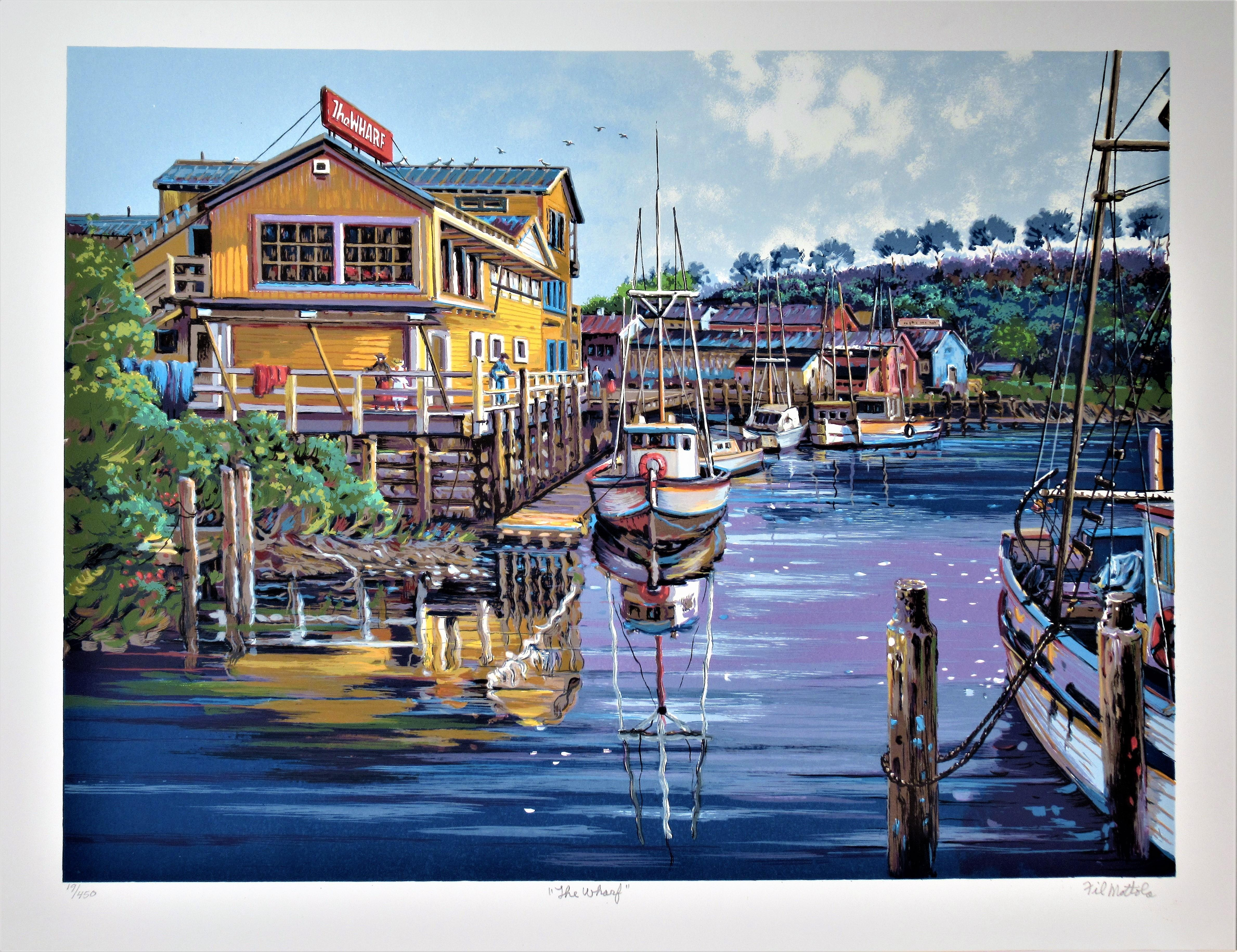 """The Wharf"" Large original color serigraph"