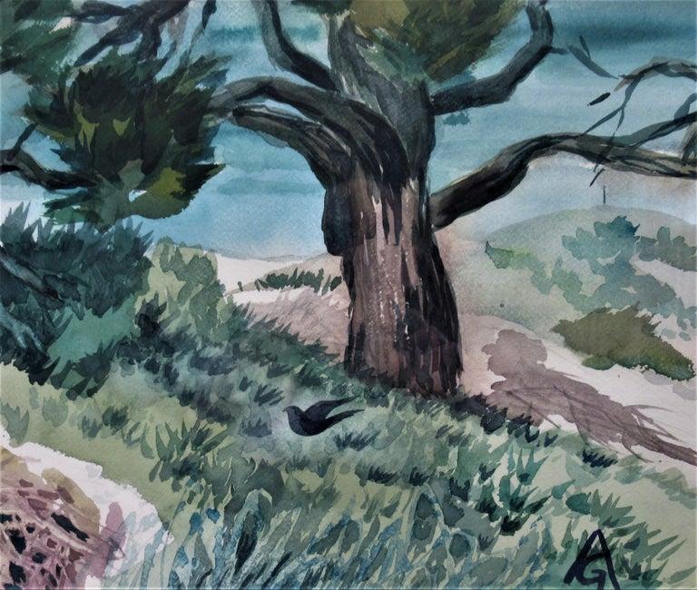 Monterey Coast, California - Gray Landscape Art by Arnold A. Grossman
