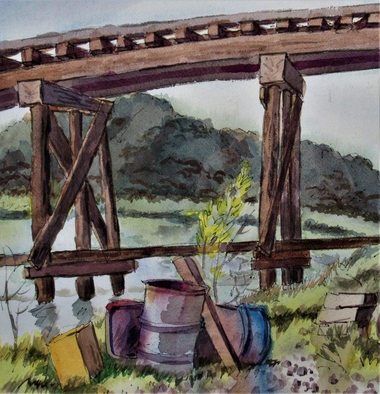 The Old Trestle, San Rafael, California - American Impressionist Art by Arnold A. Grossman