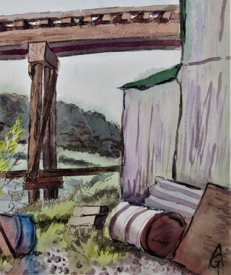 The Old Trestle, San Rafael, California - Gray Landscape Art by Arnold A. Grossman