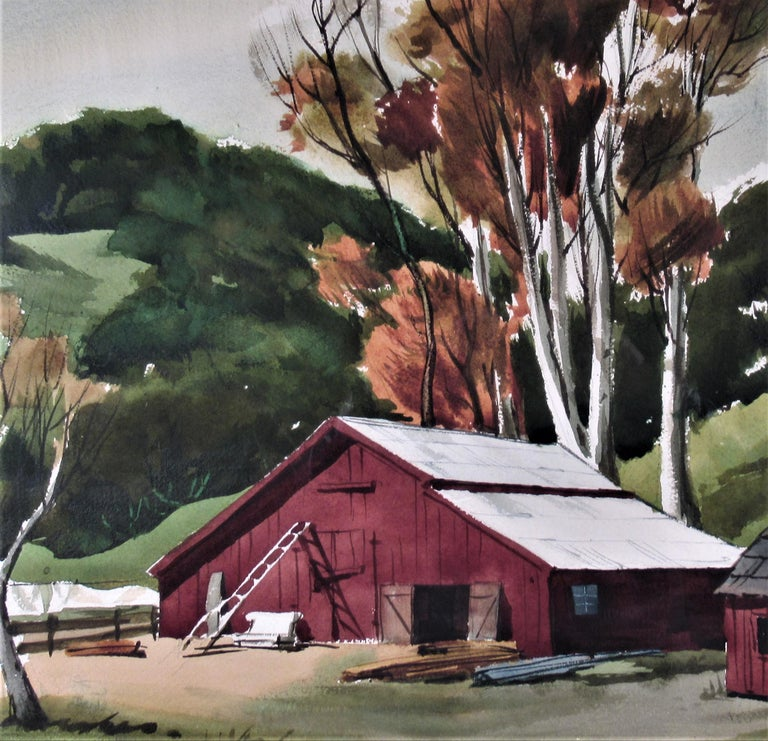 The Old Red Barn - American Impressionist Art by Frederick Cole