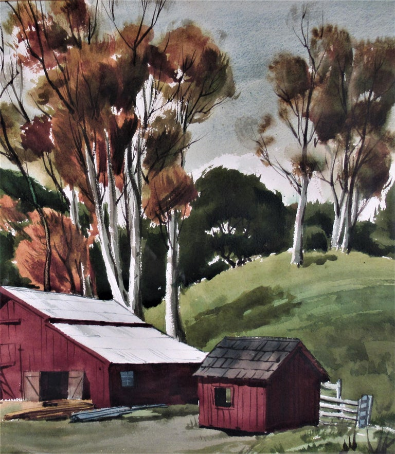 The Old Red Barn - Brown Landscape Art by Frederick Cole