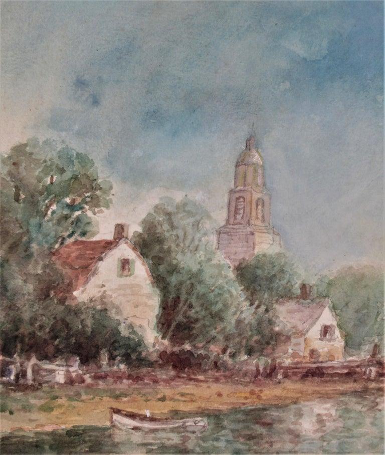 Harbor Village - Gray Landscape Art by Frederick Leo Hunter