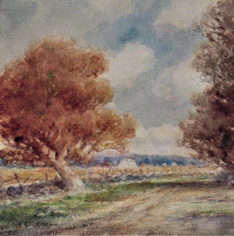 Landscape with Trees - Brown Figurative Art by Frederick Leo Hunter