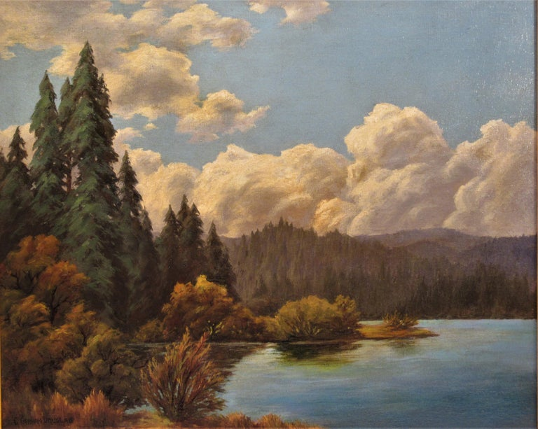 California Landscape with Lake - Painting by Earl Graham Douglas