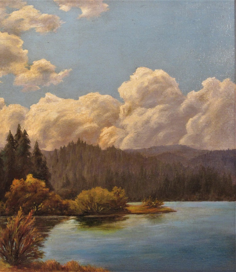 California Landscape with Lake - Brown Figurative Painting by Earl Graham Douglas