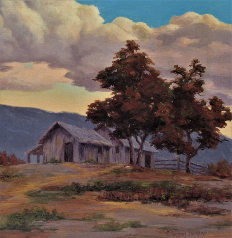 California Landscape with Houses - Painting by Earl Graham Douglas