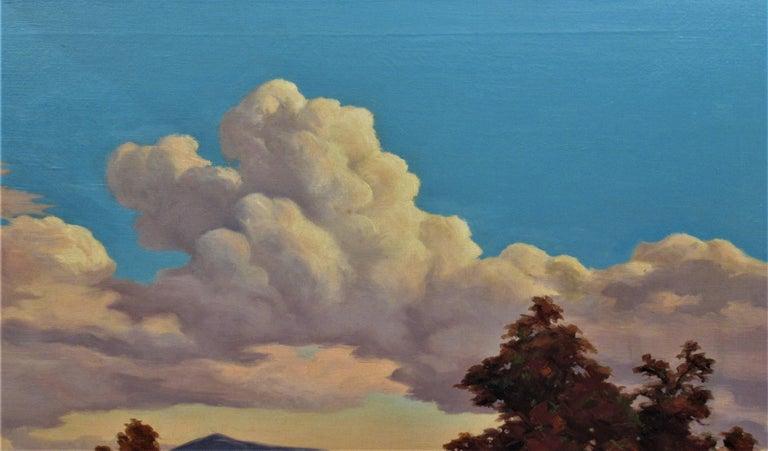 California Landscape with Houses - Black Landscape Painting by Earl Graham Douglas