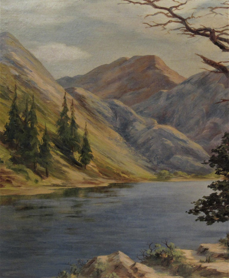 Convict Lake, High Sierra - Brown Landscape Painting by Earl Graham Douglas