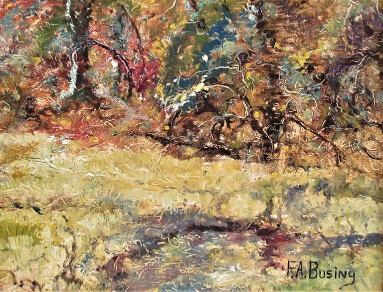 Landscape with Trees - Brown Landscape Painting by Ferdinand A. Busing