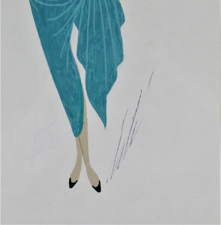 La Chanteuse - Brown Figurative Art by Erte (Romain de Tirtoff)