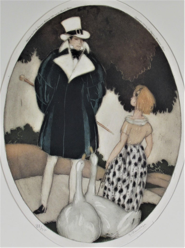 Personages with Geese - Print by Sylvain Sauvage