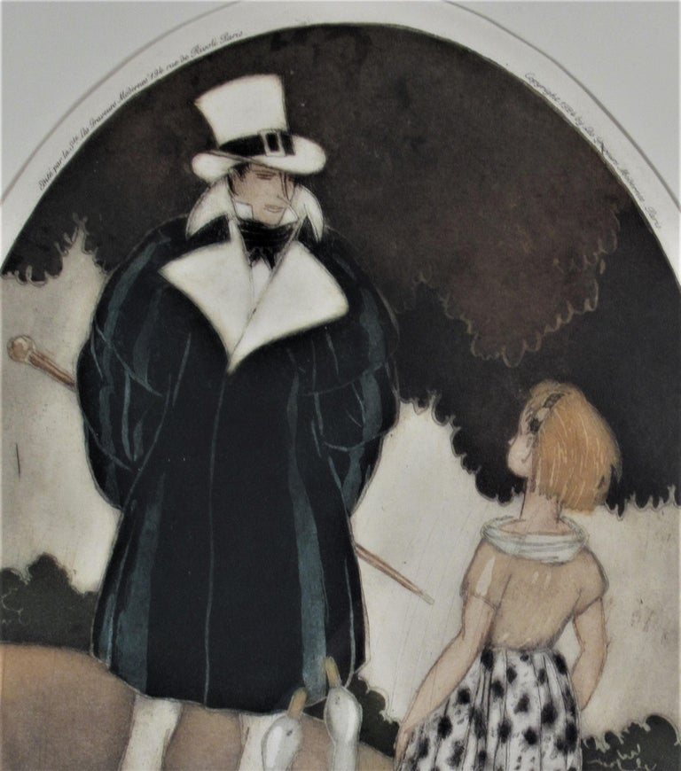Personages with Geese - Art Nouveau Print by Sylvain Sauvage