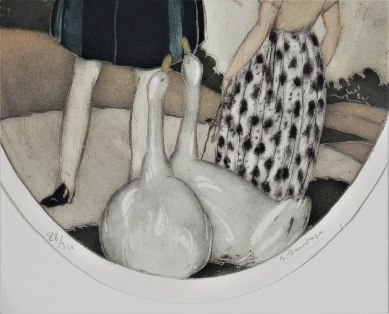 Personages with Geese - Brown Figurative Print by Sylvain Sauvage