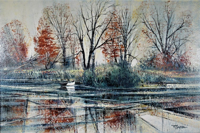 Autumn River Bank - Painting by Richard Ellis Wagner